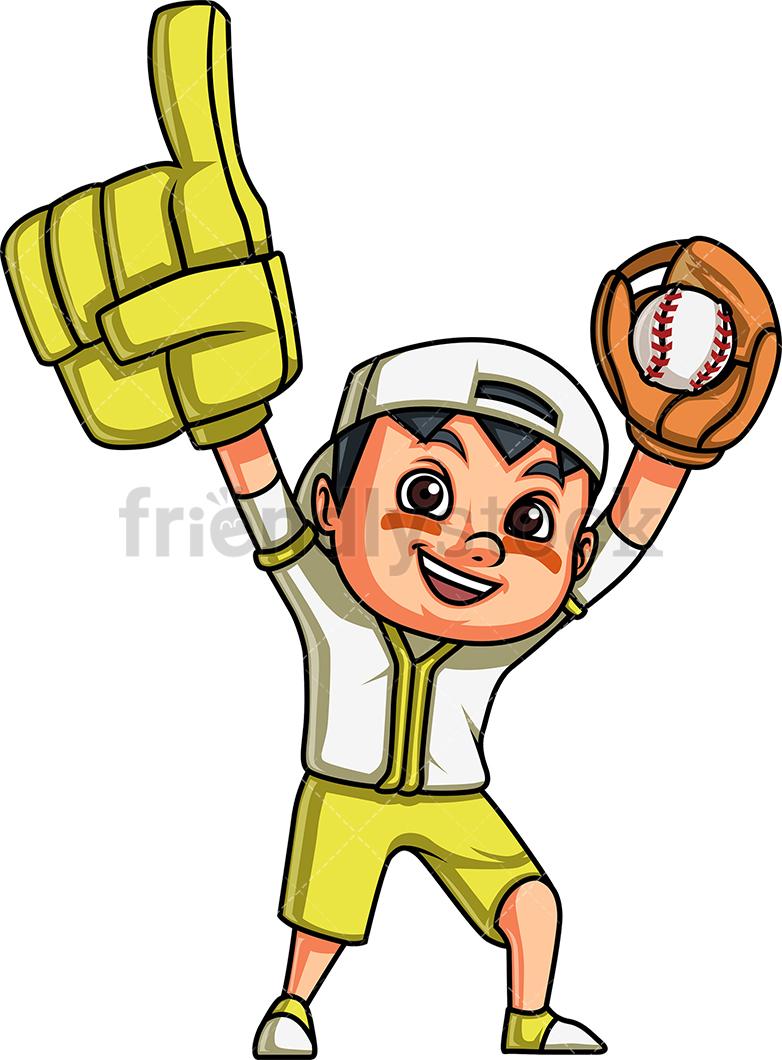 Little Boy Baseball Fan Cartoon Clipart #395221.