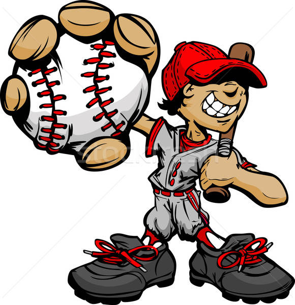Kid Baseball Player Holding Baseball and Bat vector.