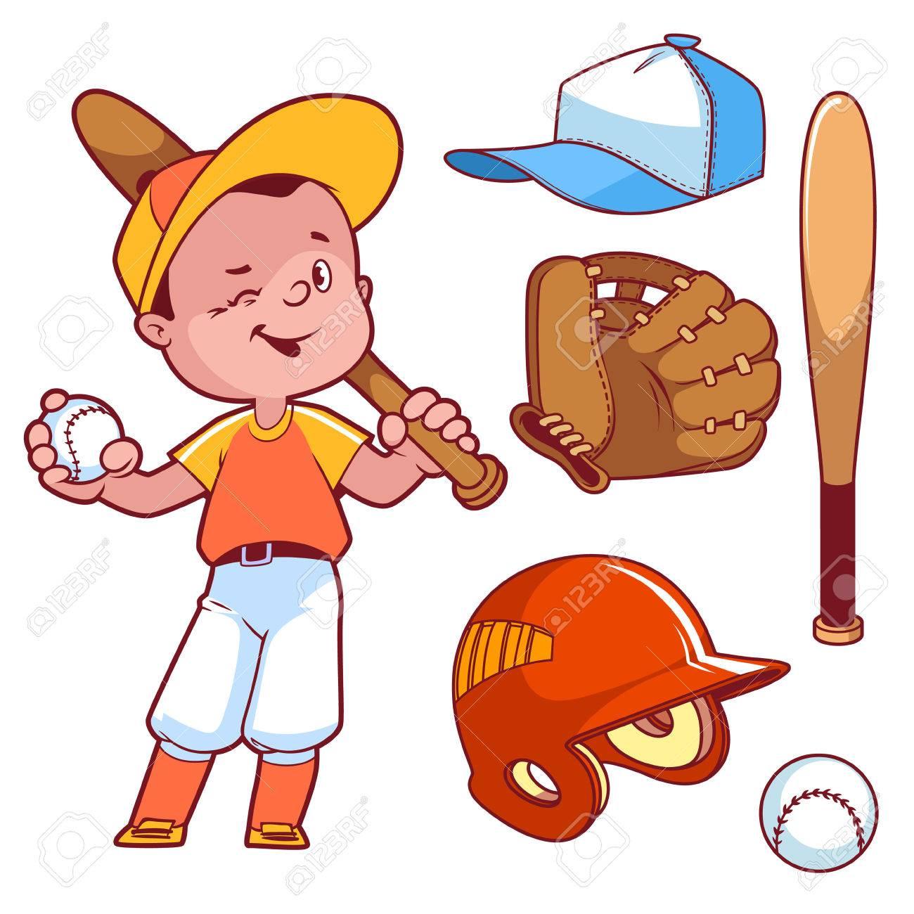 Cartoon boy playing baseball. Baseball equipment. Vector clip...