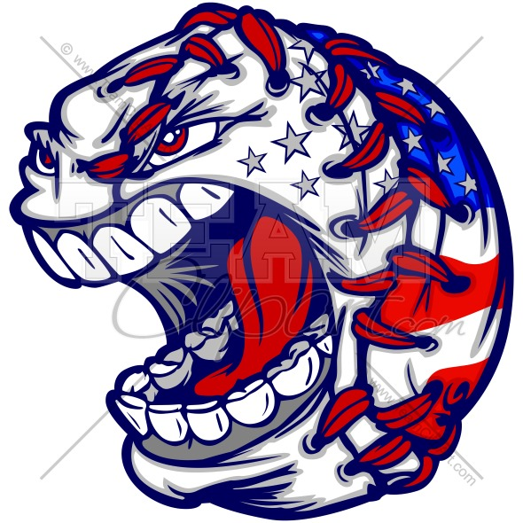 July 4th Baseball Clipart Image. Easy to Edit Vector Format..