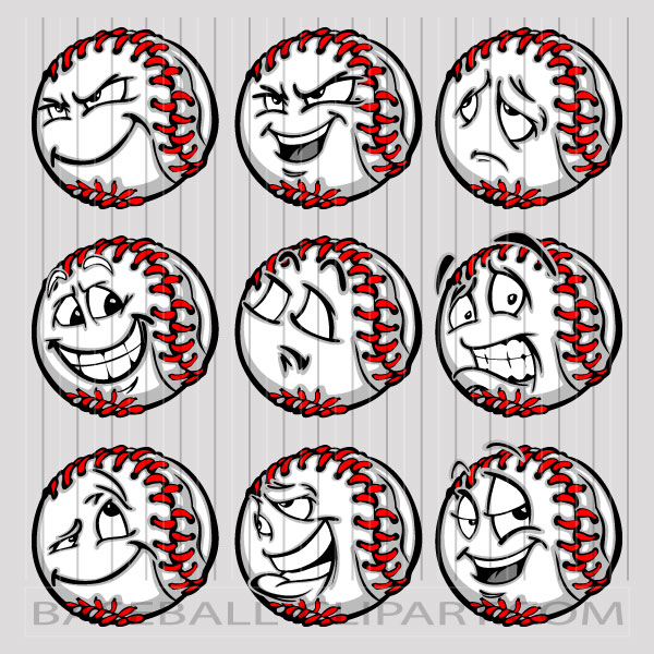 Baseball Face Clipart Image. Easy to Edit Vector Format..