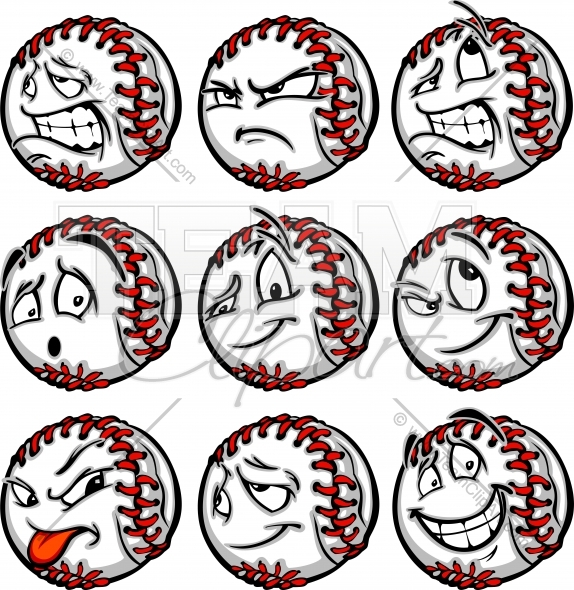 Mad Baseball Face Clipart Image. Easy to Edit Vector Format..