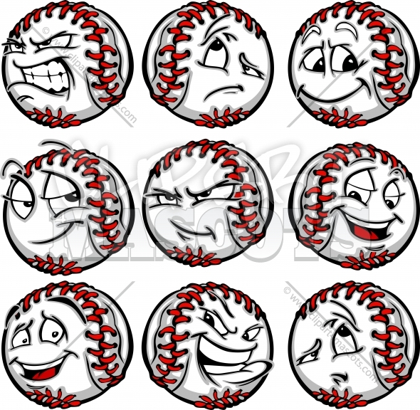 Angry Baseball Face Graphic Vector Cartoon.