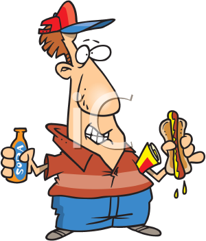 Royalty Free Clipart Image of a Baseball Fan With a Hot Dog and Soda.