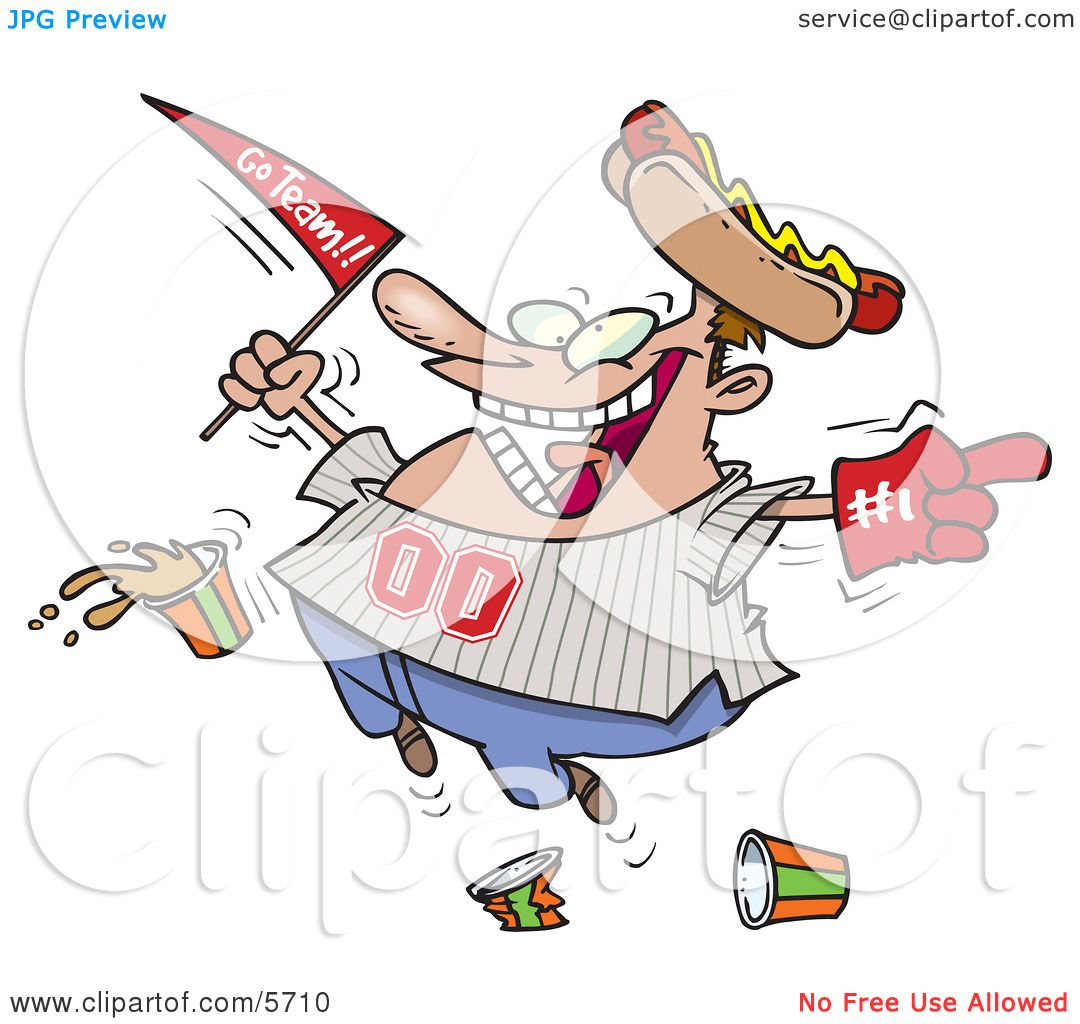 Male Baseball Fan With a Hot Dog Hat, Flag, Hand and Drinks Clipart.