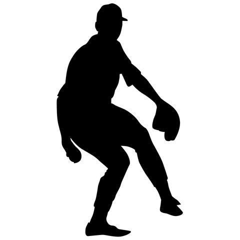 Baseball Fielder Wall Decal Sticker 34.