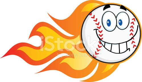Cartoon Gradient Baseball Ball With Flames Mascot Clipart.