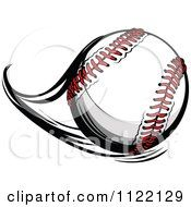 Cartoon Of A Flast Flying Baseball Royalty Free Vector.