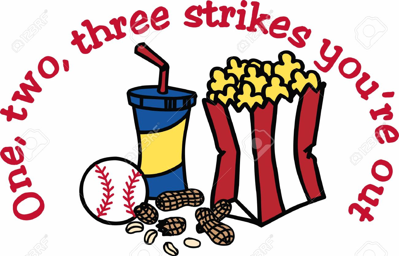 Popcorn Soda And Peanuts Baseball Snacks. Royalty Free Cliparts.