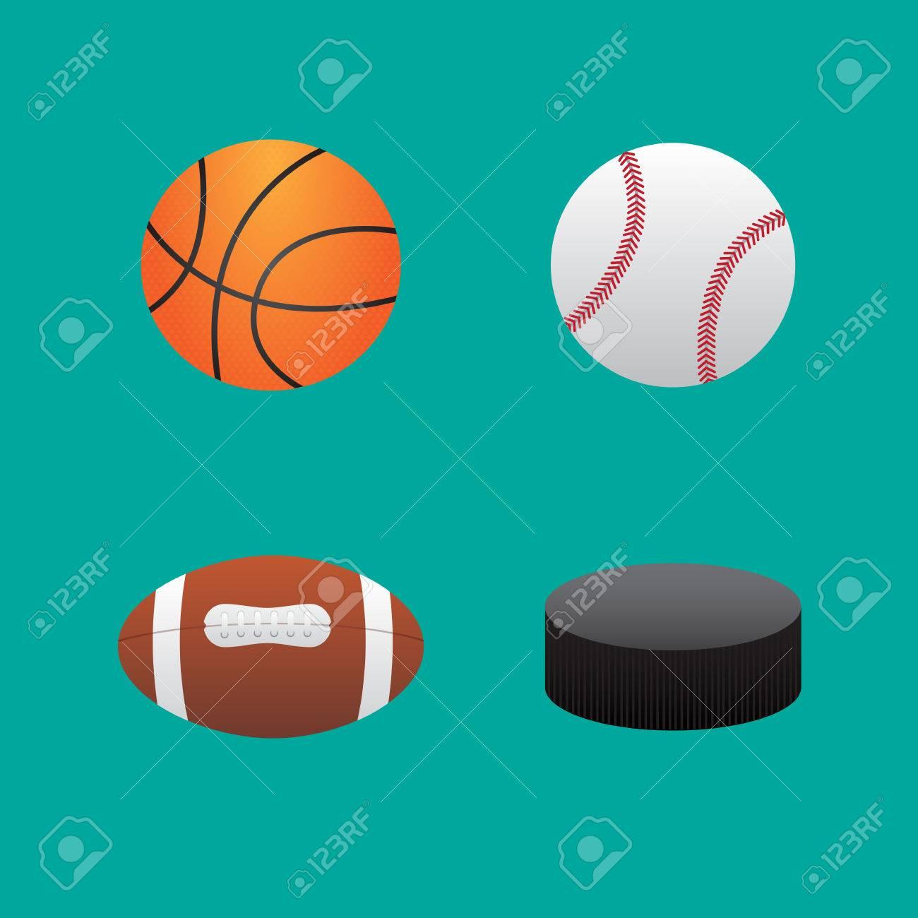Icons balls baseball football basketball and hockey puck.