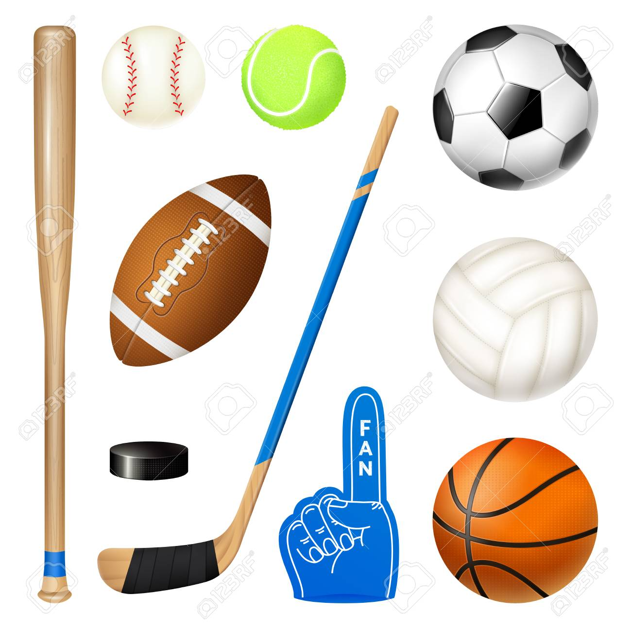 Sport inventory realistic icons set of volleyball basketball...