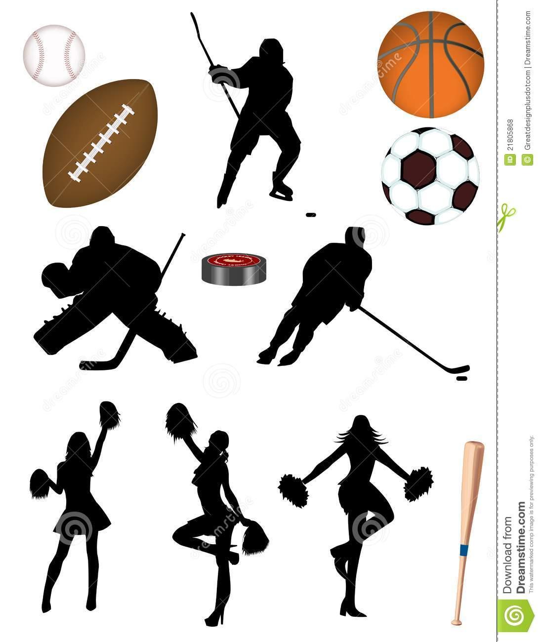Hockey! Baseball! Basketball! Football! Soccer! Stock Vector.