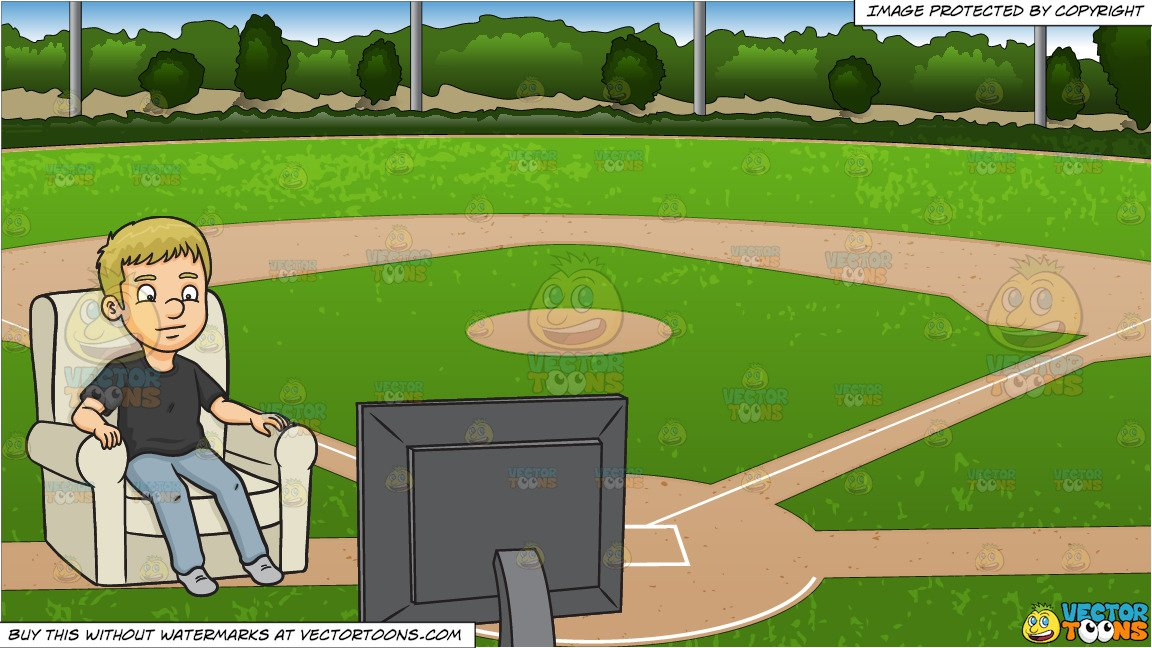 A Man Watching Tv and Baseball Diamond Background.