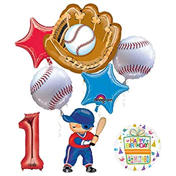 Baseball Player 1st Birthday Party Supplies Balloon Bouquet Decorations.