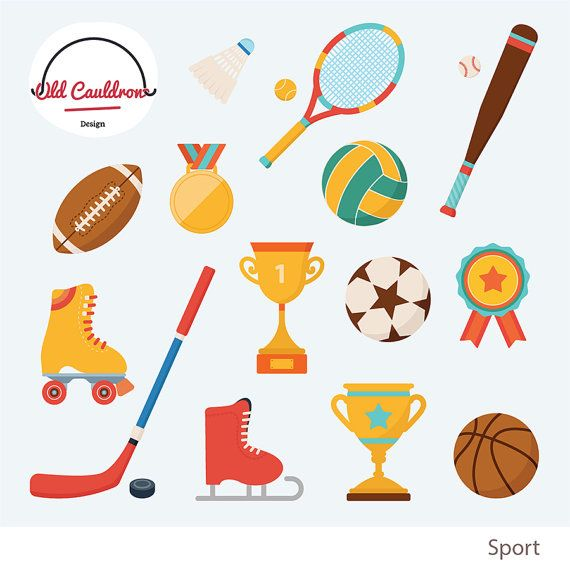 80% OFF SALE Sports clipart, sport balls, hockey, tennis.