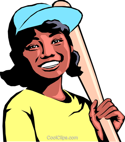 Girl playing baseball Royalty Free Vector Clip Art illustration.