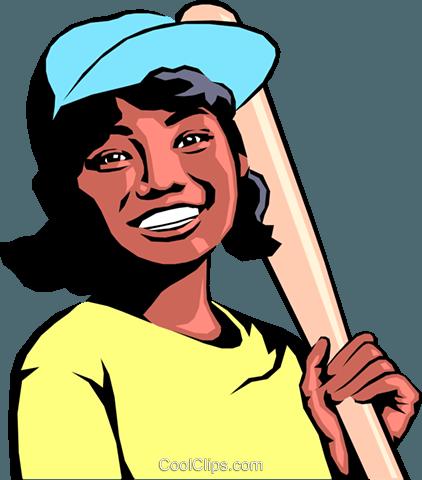 Girl playing baseball Royalty Free Vector Clip Art illustration.