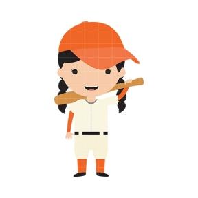 baseball girl clipart #16