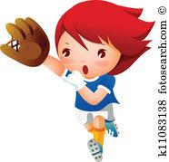 Baseball girl Clip Art Vector Graphics. 585 baseball girl EPS.