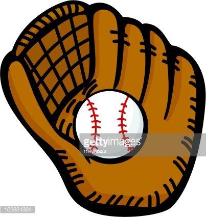 baseball glove and ball Clipart Image.