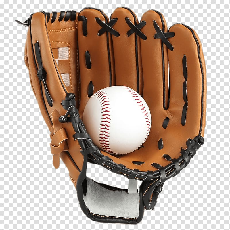Brown fielding mitt and baseball, Baseball Glove & Ball.