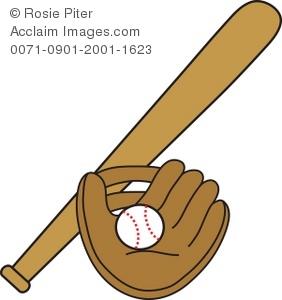 Baseball Glove And Bat Clipart.