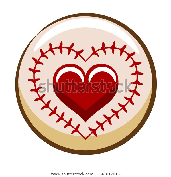 Baseball Heart Clipart Stock Vector (Royalty Free) 1341817013.