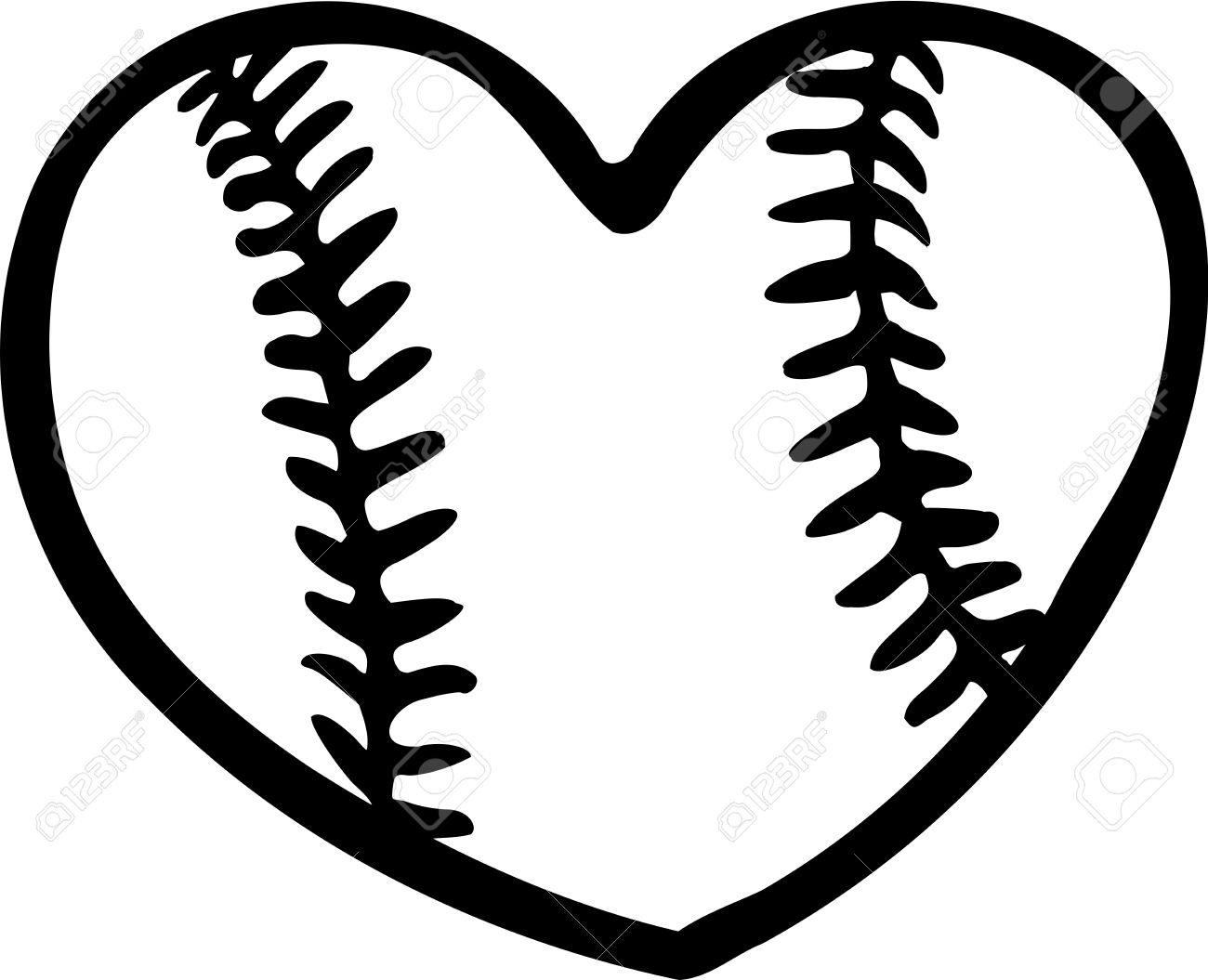 Baseball Heart Clipart Black And White.