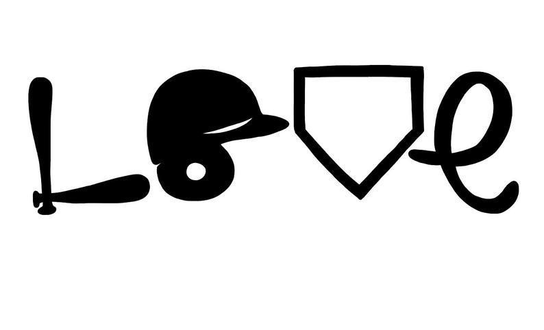 Baseball Love, Softball Love, Helmet, Bat, Home Plate SVG File, PDF file,  Drawn clipart, Cutting File, Cut File.