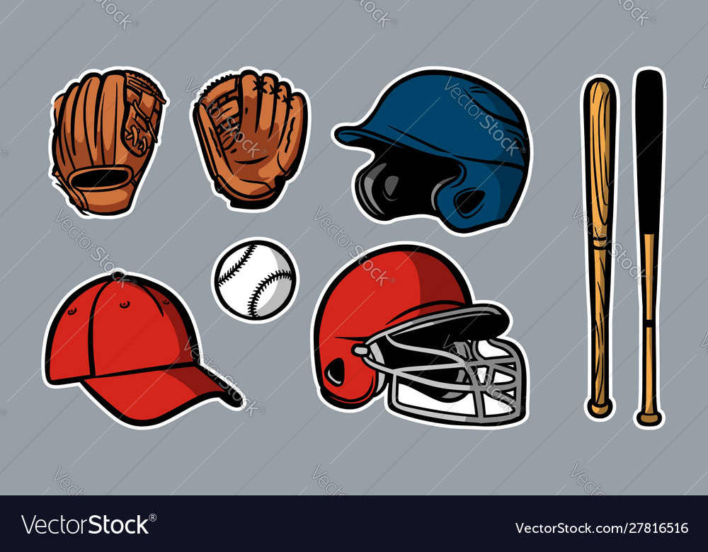 Baseball equipment set clipart icon logo.