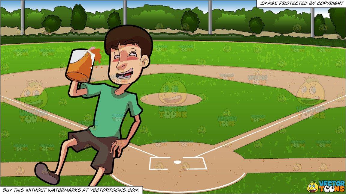 A Drunken Man Holding A Mug Of Beer and Baseball Diamond Background.