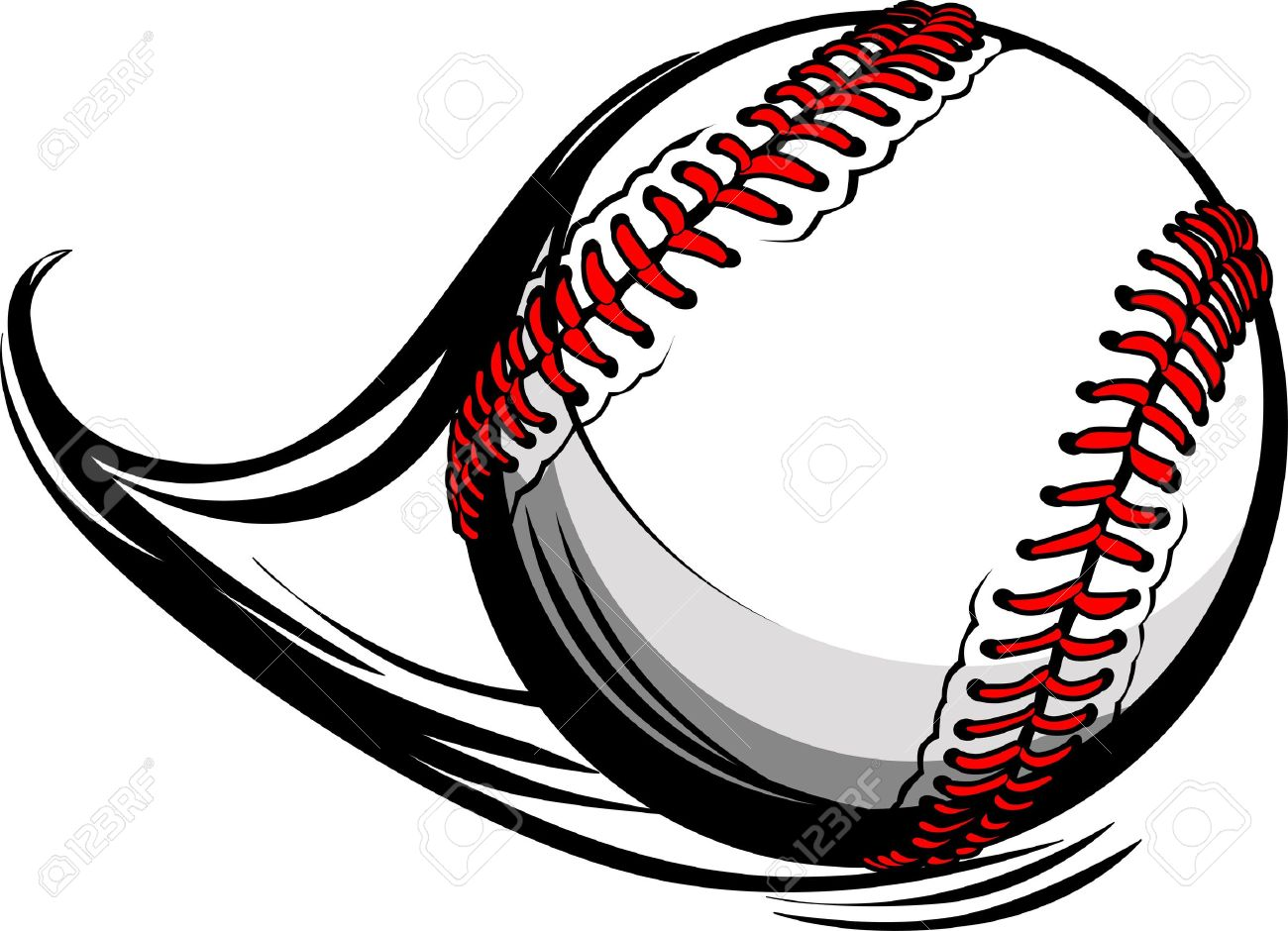 Illustration of Softball or Baseball with Movement Motion Lines.