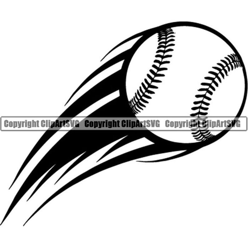 Baseball Logo #33 Motion Action Flying Ball School Pro Sports League  Equipment Team Game .SVG .EPS .PNG Clipart Vector Cricut Cut Cutting.