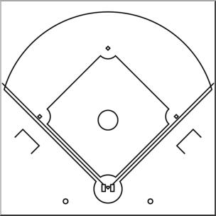Clip Art: Baseball Infield B&W I abcteach.com.