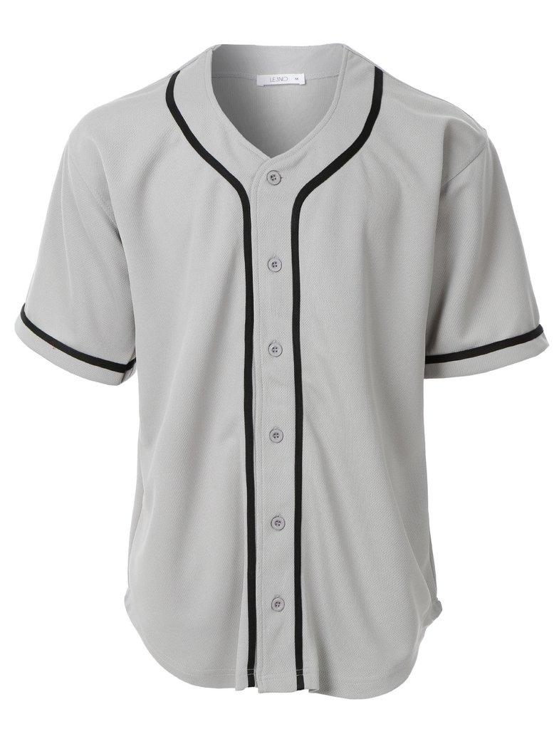 Mens Active Varsity Short Sleeve Button Down Baseball Jersey.