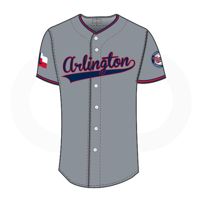 Arlington Twins Baseball Jersey Grey (Customizable).
