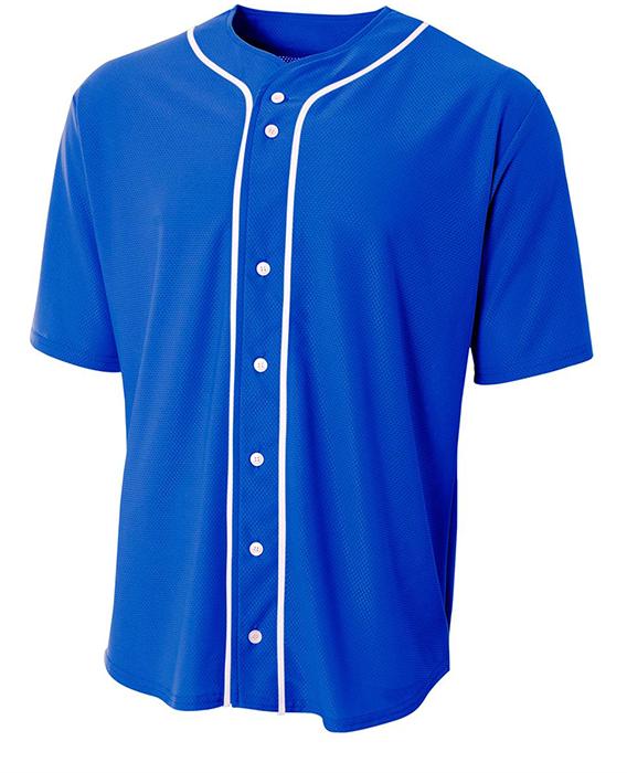 A4 Adult Short Sleeve Full Button Baseball Jersey.