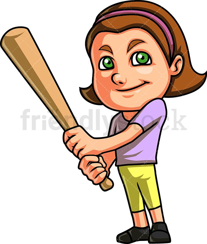 Little Girl Playing Baseball.