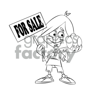 black and white cartoon kid holding a baseball for sale clipart.  Royalty.