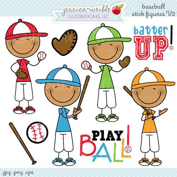 Baseball Boy Stick Figures V2 Cute Digital Clipart.