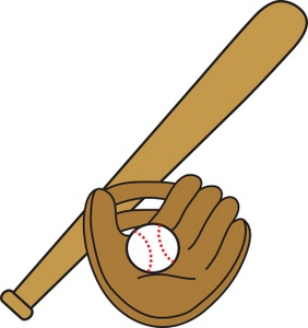 Baseball Glove And Bat Clipart.