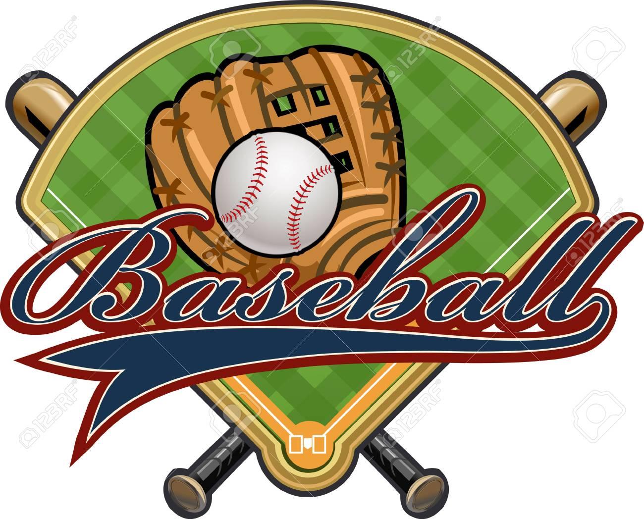 Baseball glove, ball, bat and field.