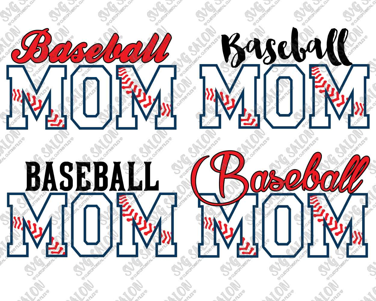Baseball Mom Layered Pattern Custom DIY Iron On Vinyl Shirt Decal Cutting  File Set in SVG, EPS, DXF, JPEG, and PNG Format.
