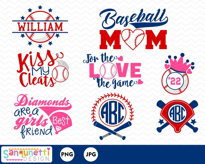Baseball Mom clipart, sports lettering and monograms digital art instant  download.