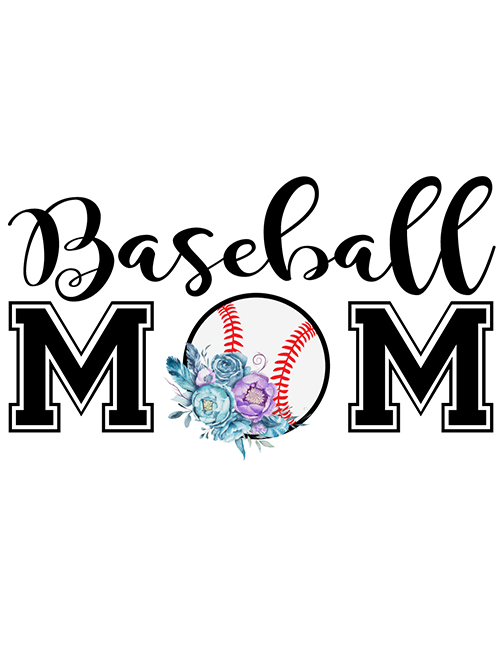 Baseball Mom PNG (Flowers) & SVG (Words).