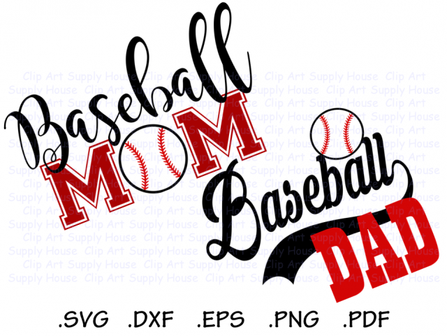 BaseBall Mom, Baseball Dad, Base Ball Design Files, Use With Silhouette  Software, DXF Files, SVG Font, EPS File, Silhouette.