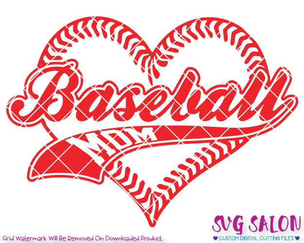 Baseball Mom Heart Laces Cut File in SVG, EPS, DXF, JPEG, and PNG.