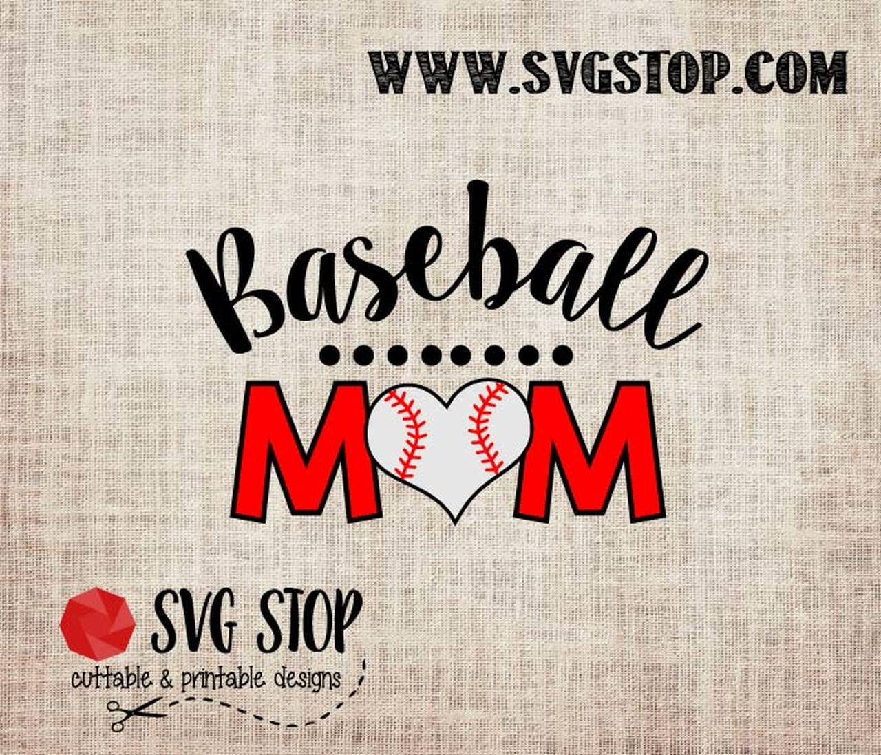 Baseball Mom with Heart Cut File in SVG, DXF, JPG, PNG, and EPS.