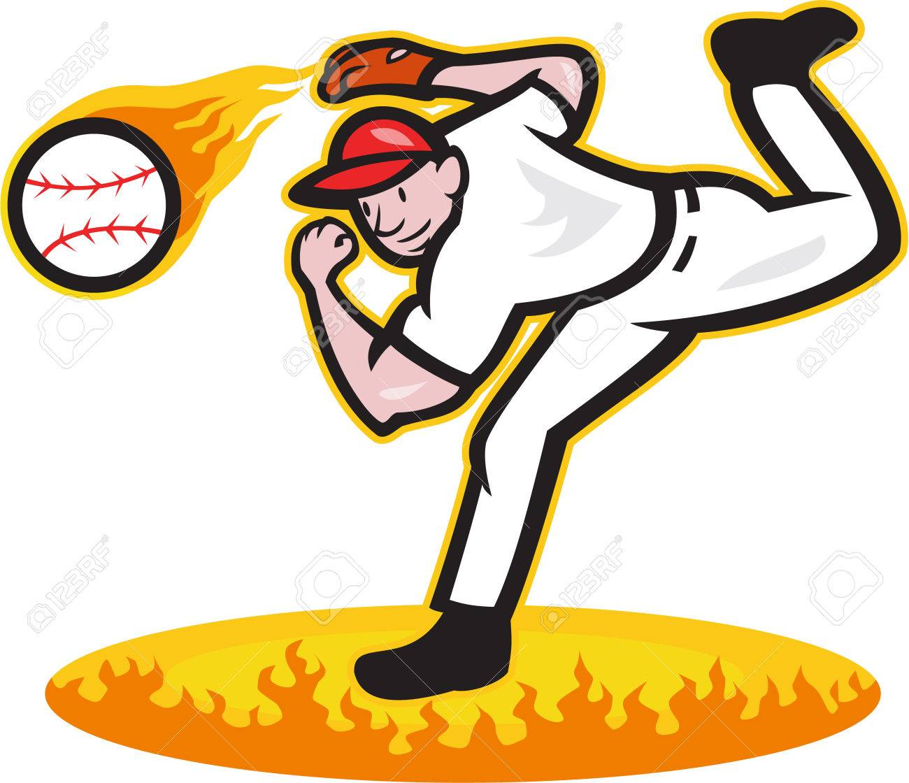 Illustration of a american baseball player pitcher outfielder...