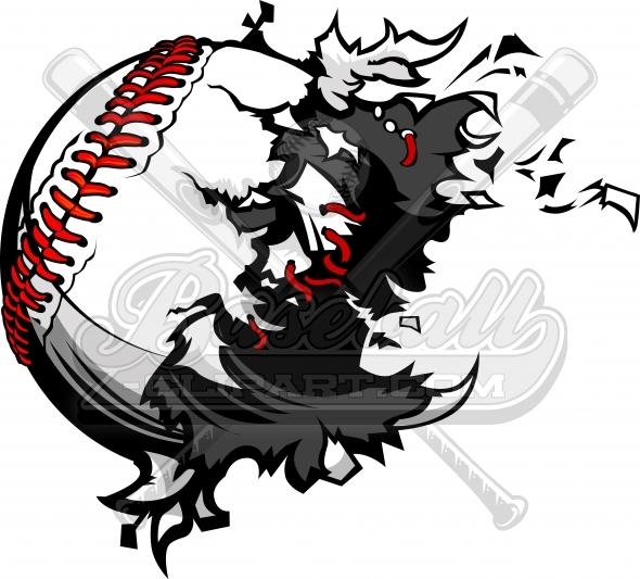 Destroyed Baseball Clipart. Exploding baseball ball vector image..